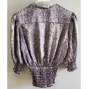 urban escape Tops - Snakeskin Open Front Blouse with Shirred Waist